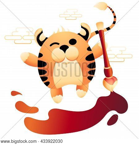 Striped Tiger Paints Blots With Red Brush. Cute Character Symbol Of New 2022 Year Dancing With Water