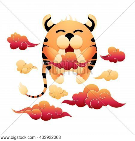 Funny Striped Tiger Is A Holding Red Cloud. Cartoon Mascot 2022 New Year Of The Tiger. Cute Tiger Is