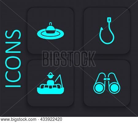 Set Binoculars, Fishing Float Water, Hook And Fisherman Boat Icon. Black Square Button. Vector