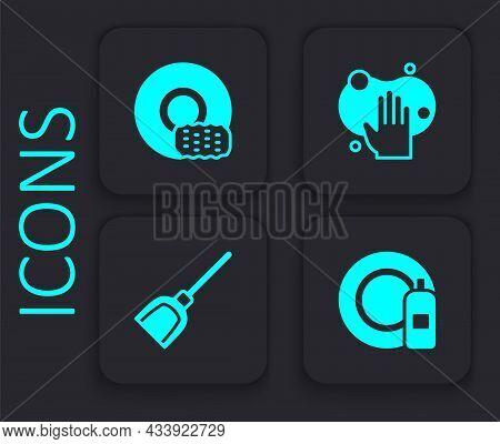Set Dishwashing Bottle And Plate, Washing Dishes, Sponge And Dustpan Icon. Black Square Button. Vect