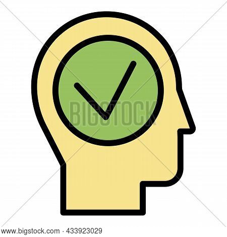Head And Check Icon. Outline Head And Check Vector Icon Color Flat Isolated