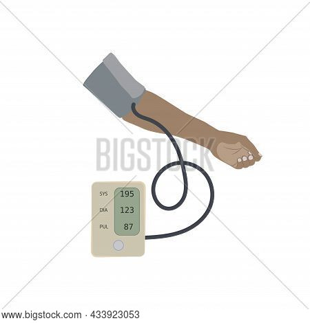 A Dark Skinned Hand And A Tonometer With Hypertension, High Blood Pressure. Flat Vector Medical Illu