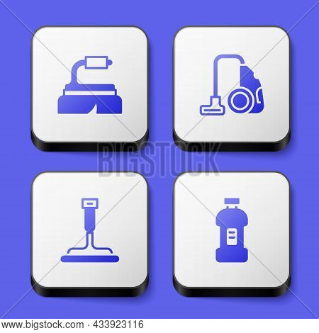 Set Brush For Cleaning, Vacuum Cleaner, Rubber Windows And Bottle Detergent Icon. White Square Butto