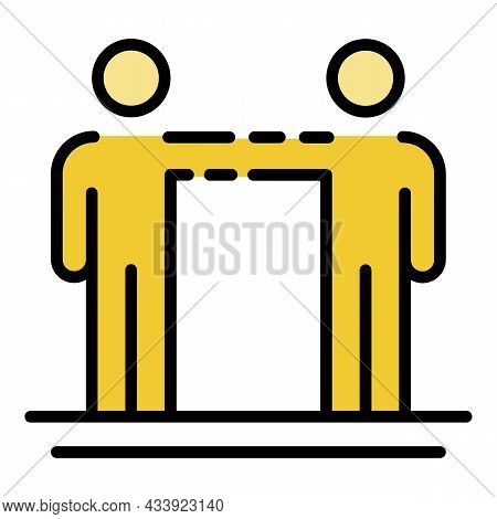 Two People Hold Hand Icon. Outline Two People Hold Hand Vector Icon Color Flat Isolated