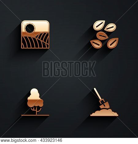 Set Agriculture Wheat Field Farm, Seeds Of Specific Plant, Fruit Tree And Shovel In The Ground Icon