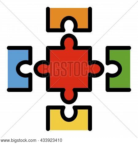 Complete Puzzle Icon. Outline Complete Puzzle Vector Icon Color Flat Isolated