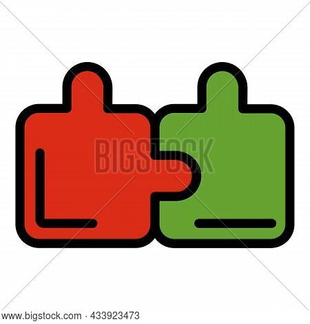 Puzzle Part Icon. Outline Puzzle Part Vector Icon Color Flat Isolated