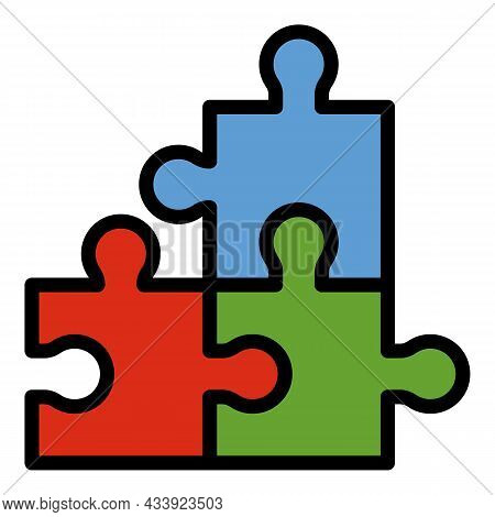 Jigsaw Match Icon. Outline Jigsaw Match Vector Icon Color Flat Isolated