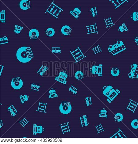 Set Cd Or Dvd Disk, School Bus, Abacus And Backpack On Seamless Pattern. Vector