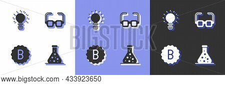 Set Test Tube, Creative Lamp Light Idea, Exam Paper With Incorrect Answers And Glasses Icon. Vector