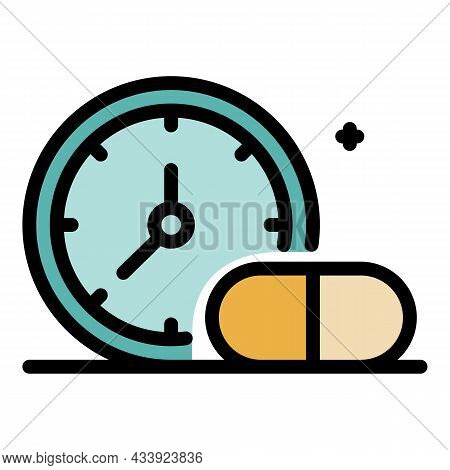 Medication Time Icon. Outline Medication Time Vector Icon Color Flat Isolated