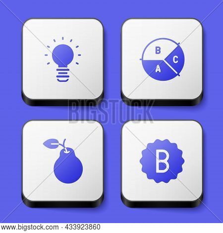 Set Creative Lamp Light Idea, Pie Chart Infographic, Pear And Exam Paper With Incorrect Answers Icon