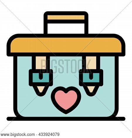 Organ Transplant Box Icon. Outline Organ Transplant Box Vector Icon Color Flat Isolated