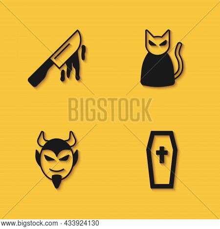 Set Bloody Knife, Coffin With Christian Cross, Devil Head And Black Cat Icon With Long Shadow. Vecto