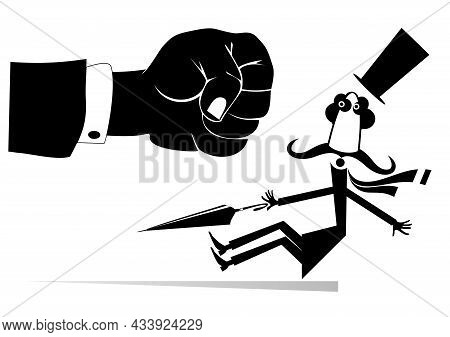 Punch Fist And Confused Falling Man.  Concept Illustration. Big Fist Beats A Falling Man In The Top
