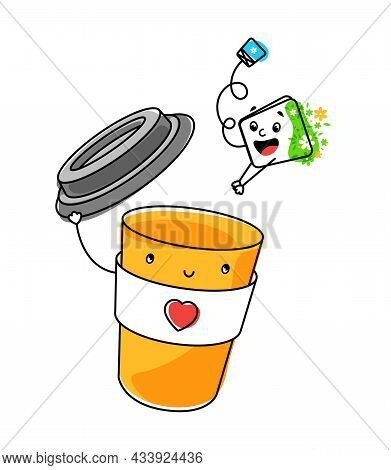 The Disposable Cardboard Cup Takes Off The Lid Like A Hat. The Tea Bag Jumps Into Hot Water. Tea Lea