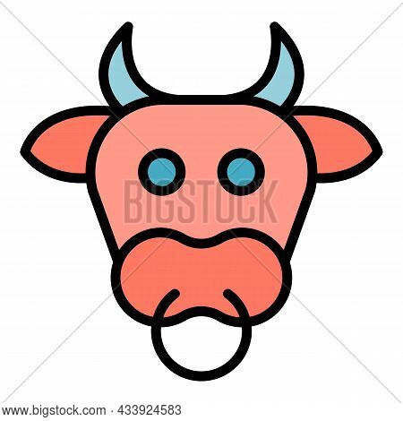 Cow Head Icon. Outline Cow Head Vector Icon Color Flat Isolated