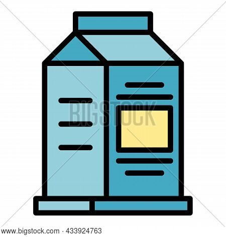 Carton Of Milk Icon. Outline Carton Of Milk Vector Icon Color Flat Isolated