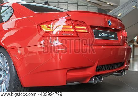 Bmw M3 Coupe In E92 Body To The Showroom Of The Bmw Museum. Close-up, Rear View. Germany, Munich - A
