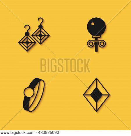 Set Earrings, Gem Stone, Diamond Engagement And Stud Earrings Icon With Long Shadow. Vector