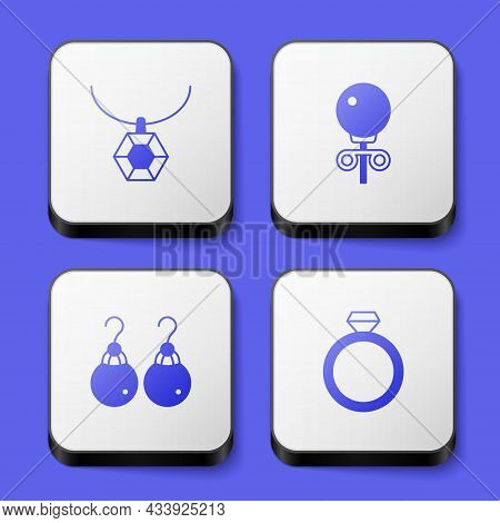 Set Pendant On Necklace, Stud Earrings, Earrings And Diamond Engagement Icon. White Square Button. V