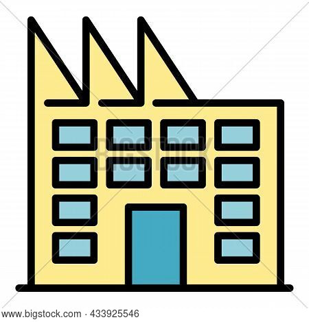 Factory Building Icon. Outline Factory Building Vector Icon Color Flat Isolated