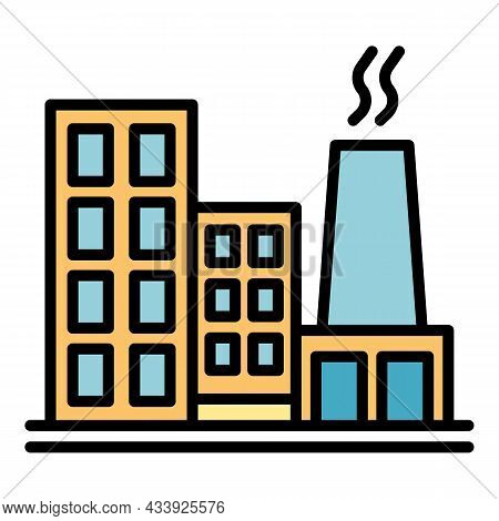 Smoke Factory Icon. Outline Smoke Factory Vector Icon Color Flat Isolated