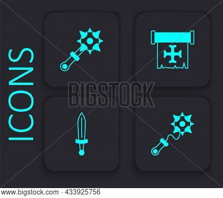 Set Mace With Spikes, Crusade And Medieval Sword Icon. Black Square Button. Vector