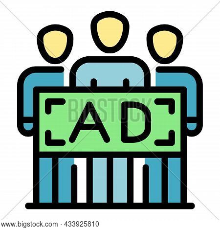 People And Advertising Icon. Outline People And Advertising Vector Icon Color Flat Isolated
