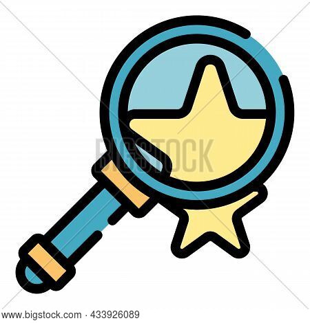 Magnifier And Star Icon. Outline Magnifier And Star Vector Icon Color Flat Isolated