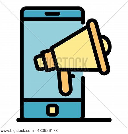 Megaphone And Smartphone Icon. Outline Megaphone And Smartphone Vector Icon Color Flat Isolated