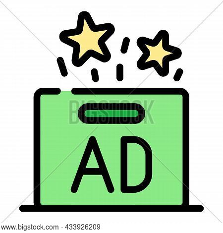 Ad Box Icon. Outline Ad Box Vector Icon Color Flat Isolated