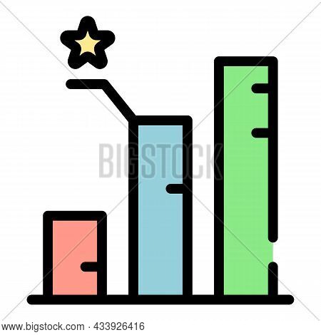 Advertising Bar Chart Icon. Outline Advertising Bar Chart Vector Icon Color Flat Isolated
