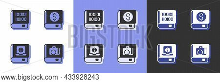 Set Photo Album Gallery, Books About Programming, User Manual And Financial Book Icon. Vector