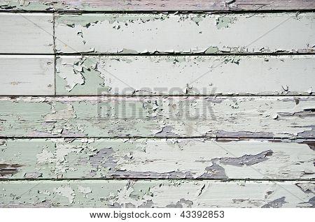 Painted peeling wooden panels