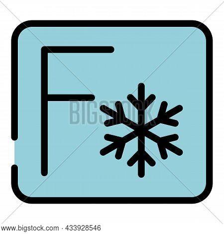 Fahrenheit Sign Snowflake Icon. Outline Fahrenheit Sign Snowflake Vector Icon Color Flat Isolated