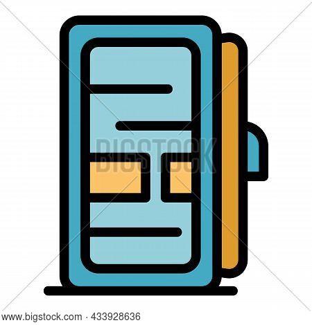 Fridge With Open Door Icon. Outline Fridge With Open Door Vector Icon Color Flat Isolated