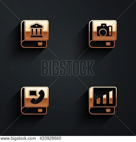Set Law Book, Photo Album Gallery, Phone And Financial Icon With Long Shadow. Vector