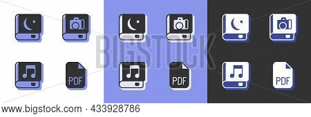 Set Pdf File Document, Holy Book Of Koran, Audio And Photo Album Gallery Icon. Vector