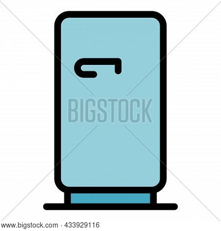 Refrigerator Icon. Outline Refrigerator Vector Icon Color Flat Isolated