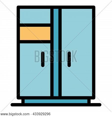 Double Leaf Refrigerator Icon. Outline Double Leaf Refrigerator Vector Icon Color Flat Isolated