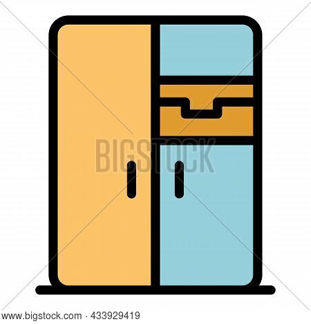 Modern Refrigerator Icon. Outline Modern Refrigerator Vector Icon Color Flat Isolated