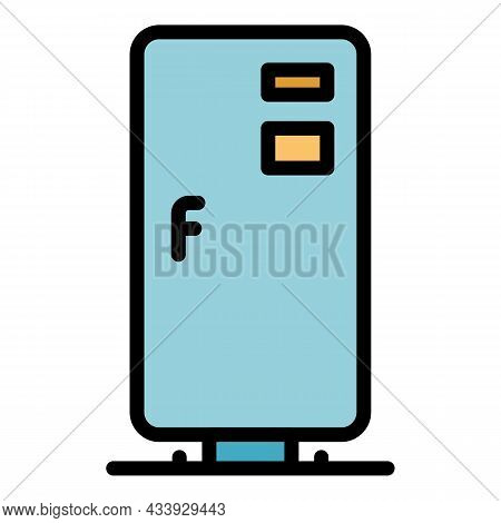 Home Refrigerator Icon. Outline Home Refrigerator Vector Icon Color Flat Isolated