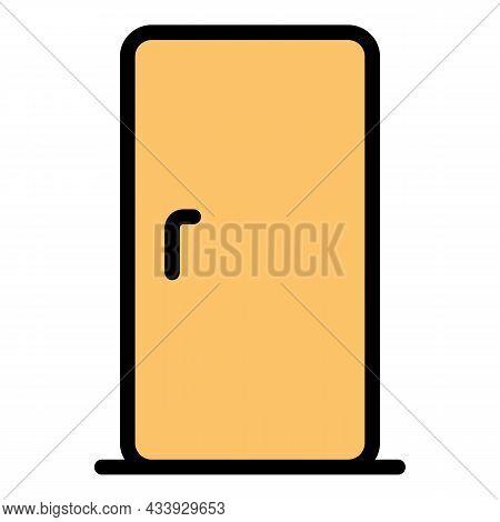 Kitchen Fridge Icon. Outline Kitchen Fridge Vector Icon Color Flat Isolated