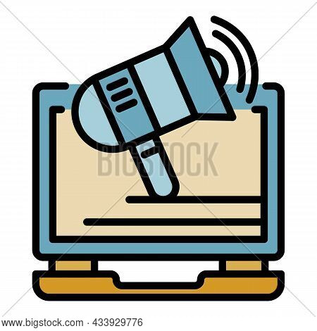 Online Invite To Protest Icon. Outline Online Invite To Protest Vector Icon Color Flat Isolated
