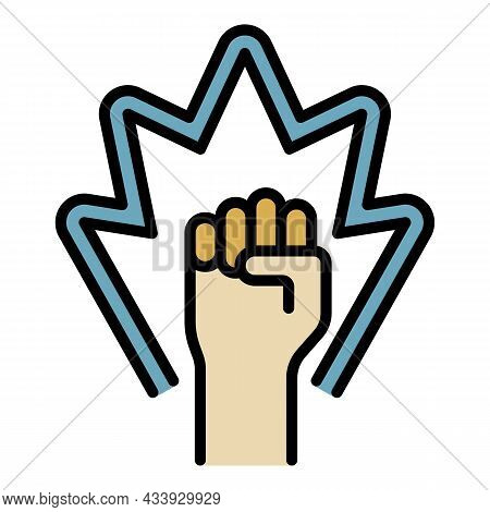 Protest Fist Up Icon. Outline Protest Fist Up Vector Icon Color Flat Isolated