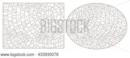 A Set Of Contour Illustrations In The Style Of A Stained Glass Window With An Abstract Sky, Dark Con