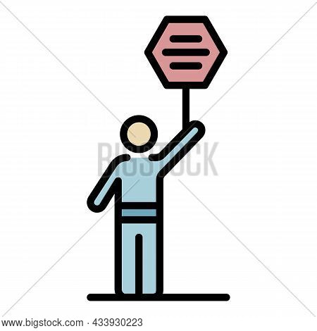 Democracy Protest Man Icon. Outline Democracy Protest Man Vector Icon Color Flat Isolated