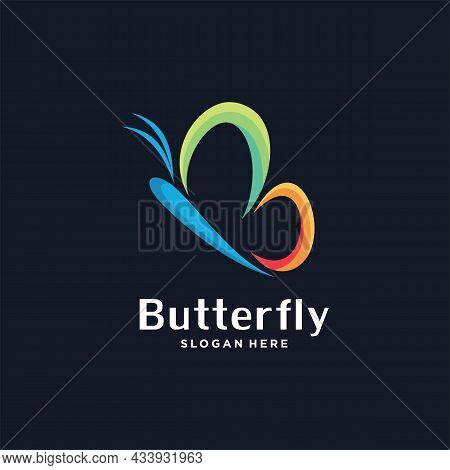 Abstract Colorful Butterfly Logo Icon. Butterfly Beauty Spa Vector Logo Template, This Logo Symboliz