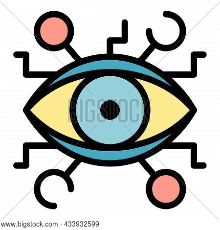 Aztec Eye Alchemy Icon. Outline Aztec Eye Alchemy Vector Icon Color Flat Isolated